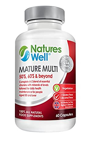Mature Optimised Multivitamin, 50's, 60's and beyond 100% Halal Certified, 40 different Vitamins and Minerals, Vitamins A, C, D, E and B12, Royal Jelly, Ginseng, Rutin and Garlic for Mature health 60 capsules Optimised Vegetarian Supplement Balanced Nutrients the Complete Multivitamins by Natures
