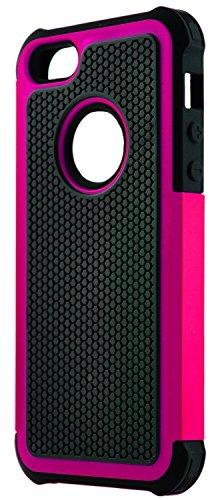 iPhone 5 / 5S / SE Stoßfest Hülle Silikon GizzmoHeaven Schutzhülle Dünn Tasche Hybrid Armor Cover Case Etui Handyhülle für Apple iPhone 5 / 5S / SE - Rosa Rosa