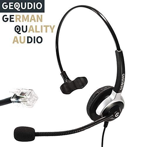 Business-Headset geeignet für Yealink (alle Modelle)®, Snom (alle Modelle)® und Grandstream ® Telefone - IP Phone mit RJ-Anschluss | 60g leicht (Schnurgebundenes Telefon-headset-buchse)