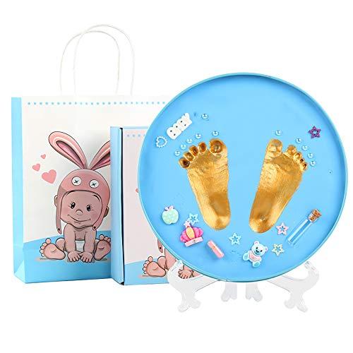 Ucradle Baby Handabdruck und Fußabdruck Set, Lehm Ornament auffüllen handabdrücke Fussabdruck Set, 3D Abdruckset in Metallgeschenkdose, Geschenk für Neugeborene - Erinnerungen für die Ewigkeit (Blau) - Auffüllen Geschenk