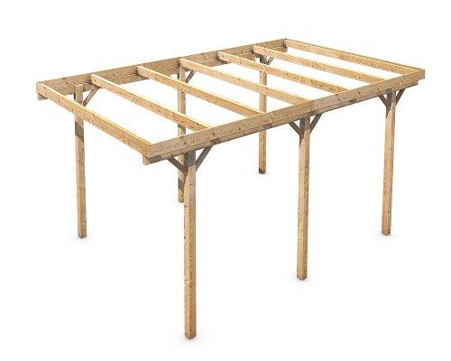 Holz Carport Flachdach Massivholz KVH freistehend 3000x5000 mm