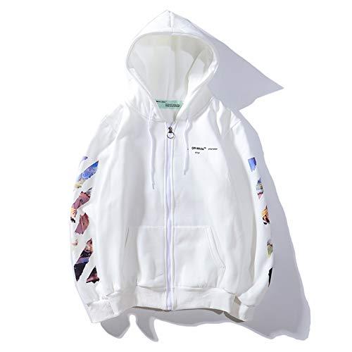 Street Trendy Fashion hip pop Off Plus Velvet White Hood Sweater Sweatshirt Pullover Men Women Boys Girls Couple - Long Sleeve Pattern Shirt