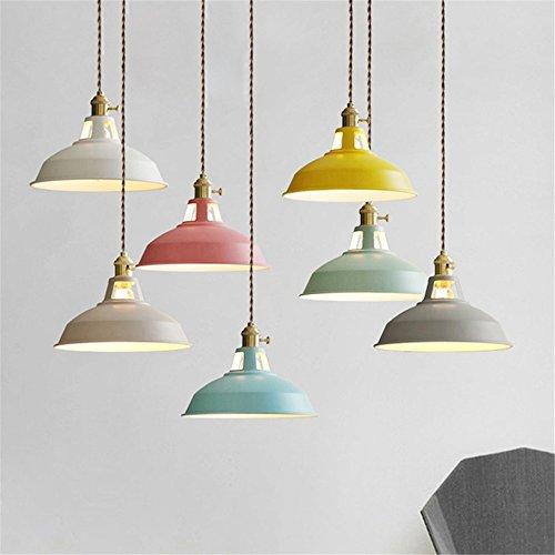 Joeyhome Feux LED multicolore Pendentif moderne salle à manger l'interrupteur de la lampe Lampes Restaurant Pendentif Fil torsadé Accueil Éclairage Decration E27,Gray