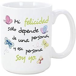 Tazas desayuno originales - Mi felicidad sólo depende una persona, y esa persona soy yo - 350 ml - Tazas con frases motivacionales