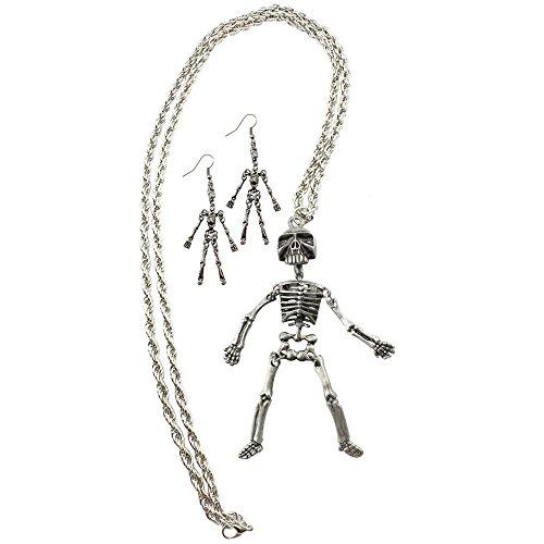 oole Halskette mit einem Skelettanhänger + Skelettohrringe in Silberfarben (Skelett - Kette+Ohrhänger) ()