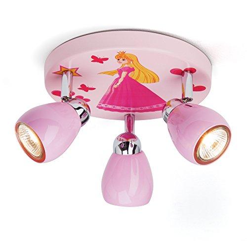 Princess Deckenleuchte mit 3 Spots, Ø 31 cm, inkl. LED 3x GU10 2,5W, Metall, rosa