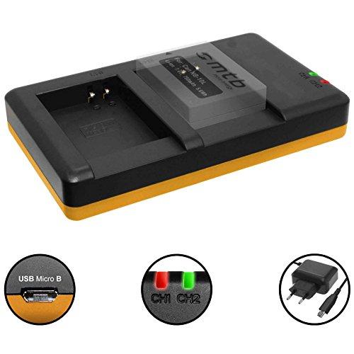 Dual-Ladegerät (Netz, USB) für Canon NB-10L / PowerShot G15, G16, G1 X, G3 X, SX40 HS, SX50 HS, SX60 HS - inkl. 2A Netzteil (2 Akkus gleichzeitig ladbar)