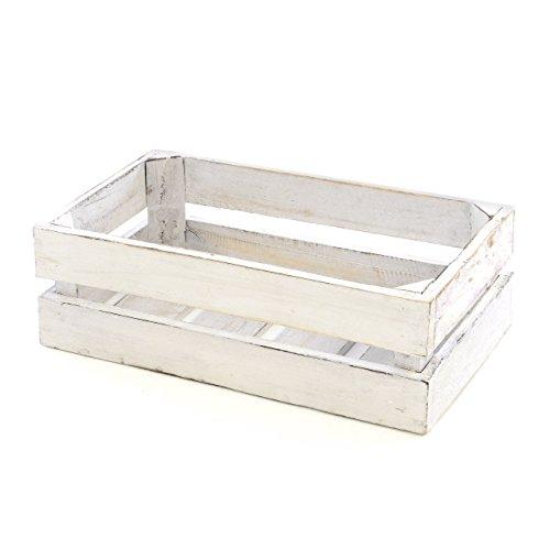 """Divero Vintage Holzkiste weiß Staubox Weinkiste Obstkiste Aufbewahrungsbox Größe Mini """"XS"""" 36 x 17cm/Höhe: 15cm Stapelbox Regal-Box"""