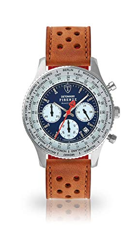 DETOMASO Firenze Racing Mens Watch Chronograph Analog Quartz Light Brown Racing Leather Strap Blue dial DT1069-A-838