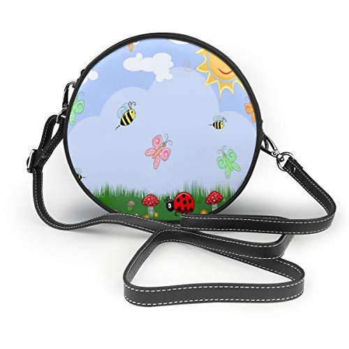 Wrution Blumenmuster Sommer Schmetterling Biene Gras Pilz Personalisierte Runde Umhängetasche mit Reißverschluss weiches Leder Kreise Geldbörse für Damen - Bienen-pilz