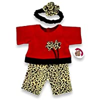 Build Your Bears Wardrobe 5060322144283 Leopard Red Fleece Teddy Bear Clothes Outfit