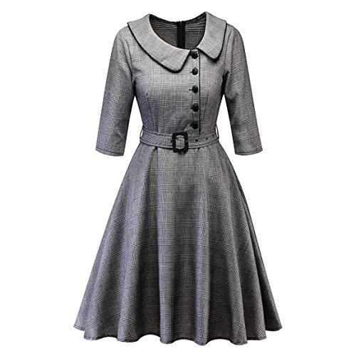 Frauen DREI viertel Sleeve Dress Damen Vintage Prinzessin Plaid Dress Peter pan Kragen unregelmäßige Party Aline schaukel Dress Moonuy