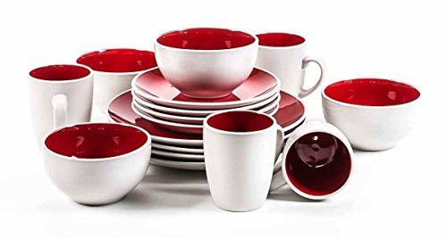 Image of Frühstücksservice für 4 Personen, robuste Keramik, modernes Design, Becher, Müsli-Schalen, Teller, 16-teilig, lieferbar in weiß/rot, weiß/grau oder weiß/türkis