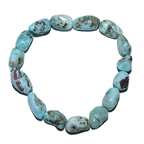 Larimar Atlantisstein Nugget Armband Größe der Nuggets ca. 10-15 mm Größe des Armbandes ca. 19-20 cm auf elastischem Band