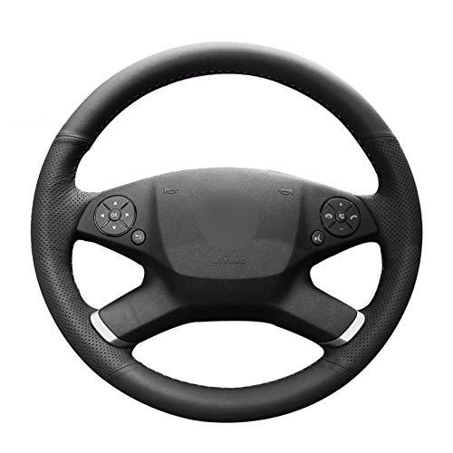 OPOPDLSA Couvre Volant de Voiture en Cuir Artificiel Noir PU Cousu à la Main pour Mercedes Benz Classe E W212 E 200 260 300 2009-2013