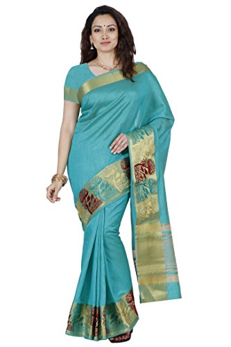 Mimosa By Kupinda Women's Tusser Silk Saree Kanjivaram Style Color :Rama (3445-2085-KH-3-RMA)  available at amazon for Rs.1199