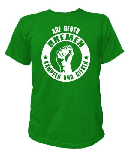 Artdiktat T-Shirt Auf geht´s Bremen kämpfen und siegen Unisex, Größe XXXL, grün