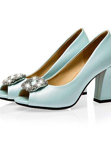 LFNLYX Chaussures Femme-Bureau & Travail / Habillé / Décontracté-Bleu / Rose / Blanc-Gros Talon-Talons / Bout Ouvert-Sandales-PU Blue