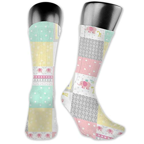 MZZhuBao Elephant Friends Pink - Cheaters Quilt Modern Pink Polka Dot Casual Athletic Full Crew Socks Running Gym Compression Foot -