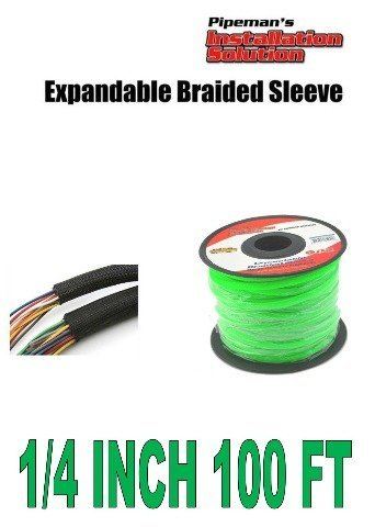 "Pipeman's Installation Solution 1/4"" 100 feet GREEN Expandable Braided Sleeving Flexible FLEX TECH Wiring LOOM"
