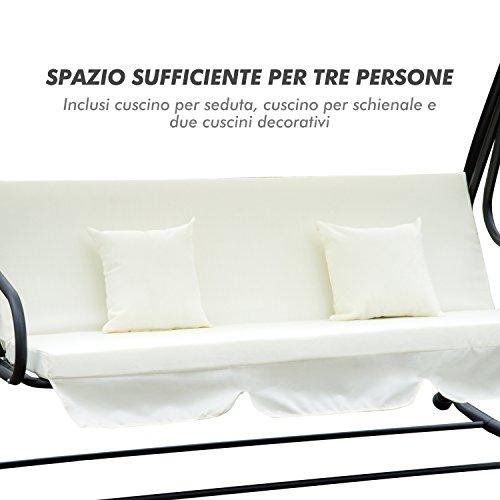 Outsunny Dondolo da Giardino Tre Posti Trasformabile in Letto con Cuscini 200 × 120 × 164cm Crema - 8