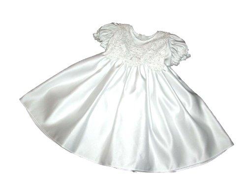 Helgas Modewelt Kurzes Taufkleid aus edlem Brautsatin mit Stickerei, Größe 80