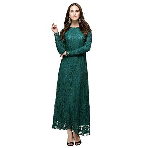 Meijunter Muslimisches Kleider für Damen - Spitze Langarm Kleid Ethnische Kleidung Abaya Arabisch Dubai Kaftan Grün M -
