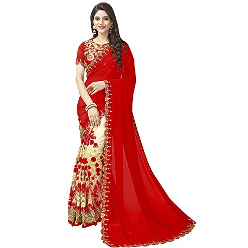 Jhtex Fashion Women's Clothing Red Net Georgette Sarees Diwali Special Saree (GNRed_Red56)