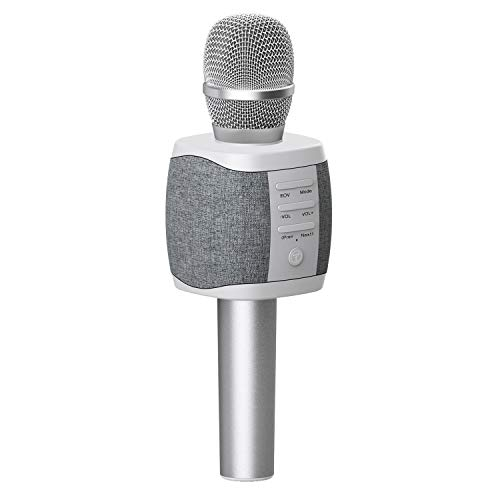 TOSING 027 Microfono Karaoke Bluetooth wireless, volume maggiore 10W, più basso, 3-in-1 Microfono portatile con doppio altoparlante per iPhone / Android / iPad / PC (light grey)
