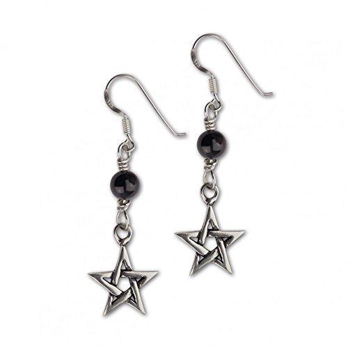 """etNox-orecchini argento 925 """"Black pentacolo"""""""