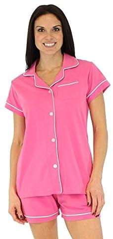 Sleepyheads Ladies Cotton Short Sleeve Button Front Pyjamas Shorts Sleepwear Set (STCS376PINK-LRG)