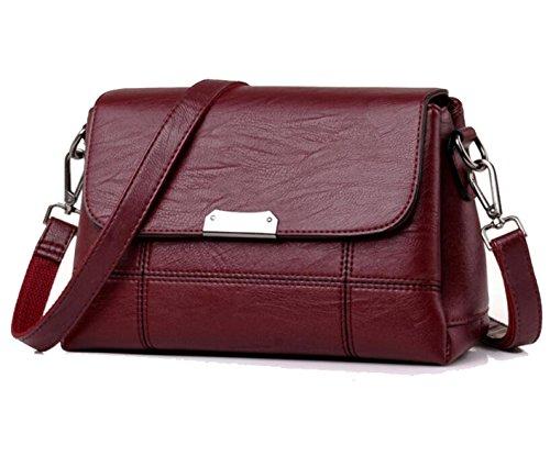Borsa A Tracolla In Pelle Da Donna Elegante Borsa A Tracolla Moda Messenger Bag Borsa Delle Signore Retro Borsa Redwine