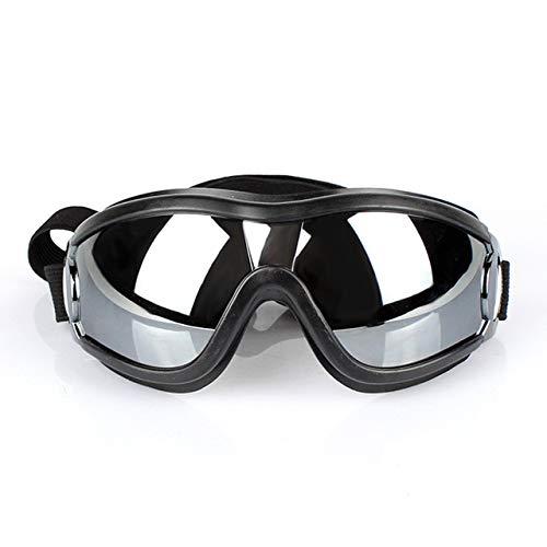 ZDJR Hundebrille Pet UV-Schutz-Sonnenbrille wasserdicht Winddicht mit Adjustable Strap für Reisen, Skifahren und Anti-Nebel Medium zu großen Hunde-Black