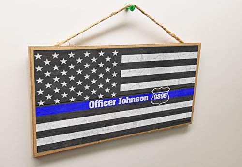 Laptopo Personalized American Flag Blue Line Officer Name & Badge Police 5