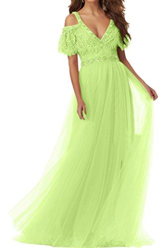 Ivydressing Damen Hochwertig V-Ausschnitt Kurz Aermel Tuell Partykleid Promkleid Festkleid Abendkleid Jaegergruen