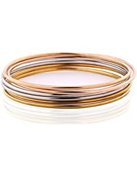 MASOP Women Simple 6 Pcs Tri-Color Silver/Gold/Rose Gold Tone Bohemian Style Bangle Bracelet Set