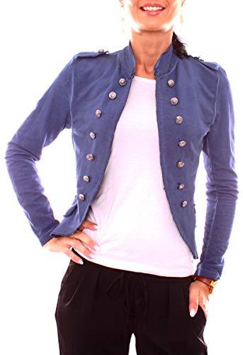 Damen Vintage Uniform Military Admiral Style Sweat Jersey Blazer Sakko Jacke Kurz Knopfleiste Offen Einfarbig Dunkelblau Marine XS 34 (S)