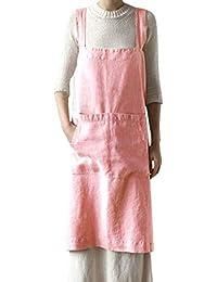 UPXIANG Donna Vestito Lungo Elegante Abito Cerimonia Donna Dress Mini  Vestito Trasparente Cotone Lino Grembiulino Piazza 6521095a9b5