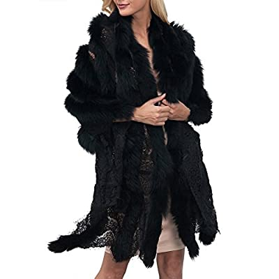 1d15dd711750 iBaste Women's Lace Assembled Faux Fur Cloak Shawl Wrap Cape Stole Bolero Jacket  Coat Shrug for wedding Evening Party Dress