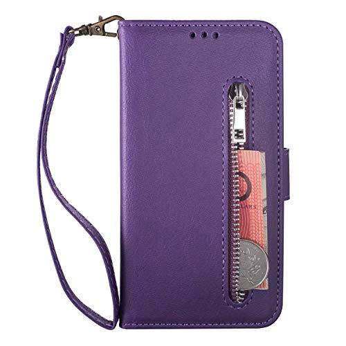 Handyhülle Kompatibel mit Samsung Galaxy A70 Hülle PU Leder Wallet Flip Case Tasche Magnetisch Handytasche Kartenfächer Ständer Schutzhülle Reißverschlusstasche Handyschale lila