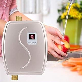 Calentador de Agua Instantáneo, Mini Calentador Eléctrico, 3000W Calentador de Agua Sin Tanque con LCD Pantalla, Calentador de Agua Portátil, Caliente Instantáneo para Cocina o Baño (Oro)