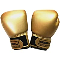 CLISPEED 1 par de Guantes de Boxeo para Niños Lustre Nacarado Color Puro Guantes de Muay Thai Punzón Deportivo Sacos de Arena Guantes de Boxeo Accesorios para Niños Niñas Principiante Dorado