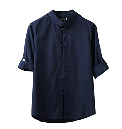 Leinen-Bluse im Chinesischen Stil, Mens Klassisches Kung Fu Tang-Anzug 3/4 Ärmel Leinenhemd