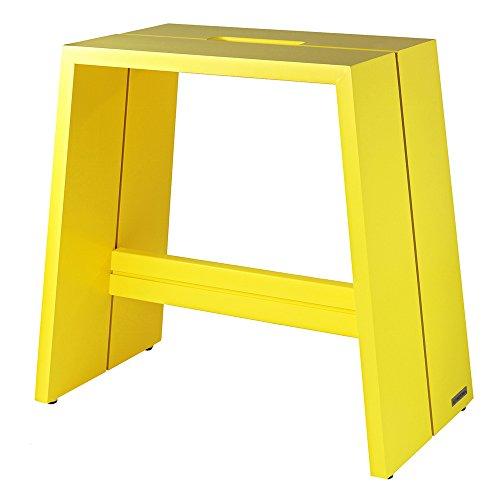 NATUREHOME Design-Hocker Massivholz buche Gelb mit Griff