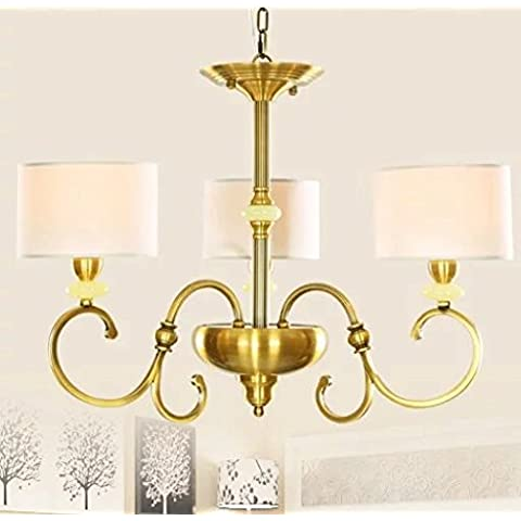 FANDBO Neoclassico lampadario di rame post-moderna americana luci