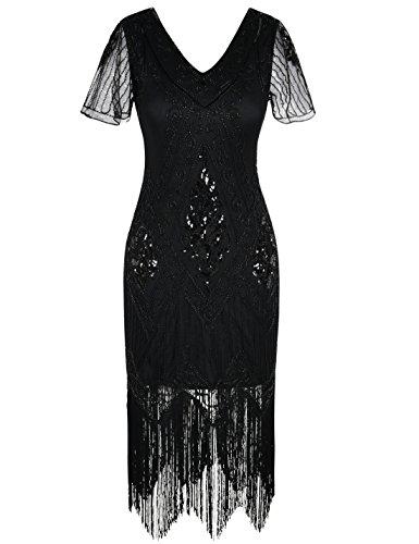 PrettyGuide Damen 1920er Charleston Kleid Pailetten Cocktail Flapper Kleid Mit Ärmel,  XXX-Large, Schwarz