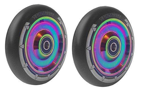 Paar TEAM DOGZ 100mm & 110mm Neochrome Regenbogen & Gold Ufo hohl Kern Roller Räder ABEC11 Lager passt auch für Sacrifice MGP - Regenbogen Kern schwarz PU, 100mm Paar 100 Mm Roller Räder