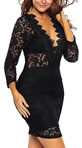 SunIfSnow - Robe spécial grossesse - Cocktail - Manches 3/4 - Femme - noir - Large