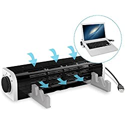"""Fsan Refroidisseur pour PC Portable,Refroidissement Silencieux et Puissant- pour Les PC Portables de 12"""" à 19"""",Trois Modes réglables alimentés par USB,CF-1691,Black"""