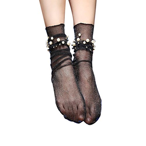 Damen Sommer Rüsche Hohe Socken Transer® Mode Japanischer Stil Ultradünne Transparente mit Perle Dekoration Nylon + Spandex Socken Einheitsgröße (Schwarz)